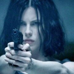 Selene in the mansion's shooting range.