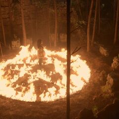Bonnie (possessed by Emily) creating fire to destroy talisman