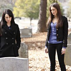 Isobel showing Elena her grave.