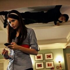 Elena at her home and Noah on the ceiling.