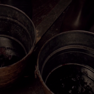 Travelers collecting buckets of blood from the last pair of doppelgängers