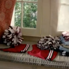 3x22: Elena's old cheer uniform in her sophomore year, a two-piece crop top uniform