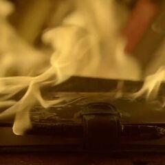 Elena's diary on fire