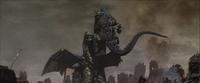 Keizer Ghidorah begins to drain Godzilla's Energy