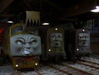 Splatter and Dodge alerting Diesel 10 of Toby's presence after they hear his bell