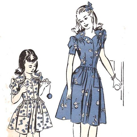 File:Alt=1940 advance 3831 vintage sewing pattern girl dress sweetheart.jpg