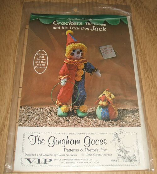 Heartfelt Friends Crackers And Trick Dog Jack Gingham Goose Doll Making Pattern