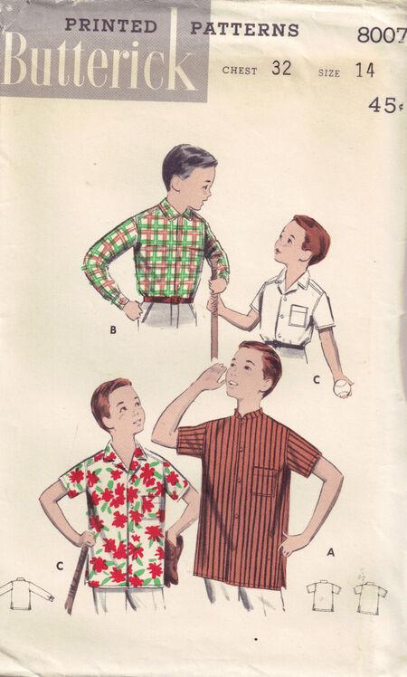 C1950s 8007 Butterick boys shirt