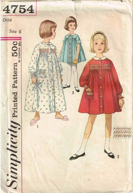 C1962 4754 Simplicity Robe Girls size 6