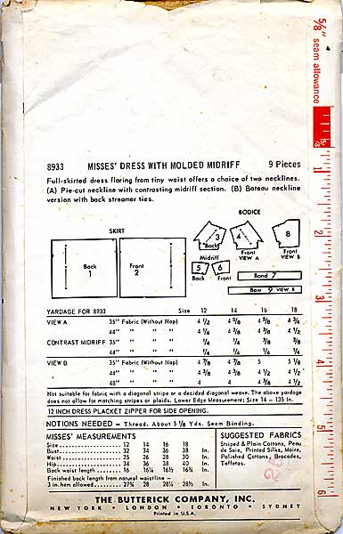 Butterick 8933 back