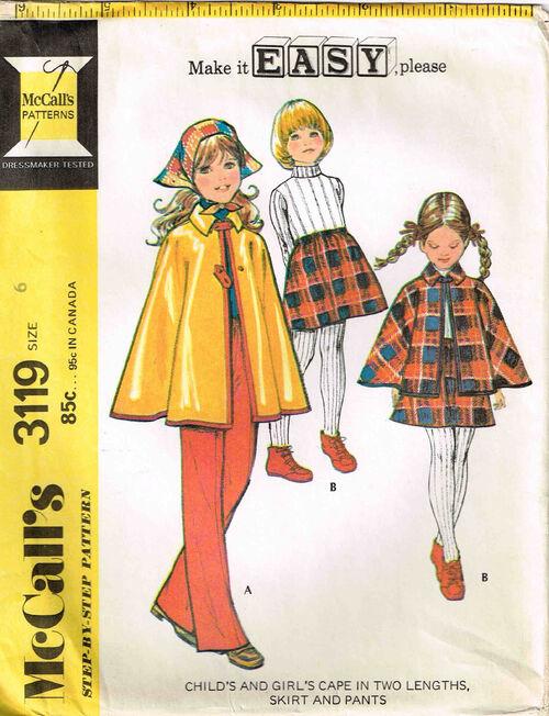 C1972 3119 McCalls Girls Cape