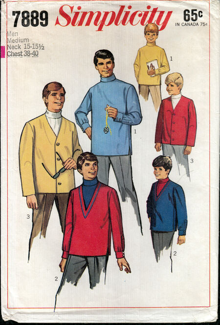 Vintage sewing pattern 1960s men's turtleneck and cardigan Penelope Rose at Artfire