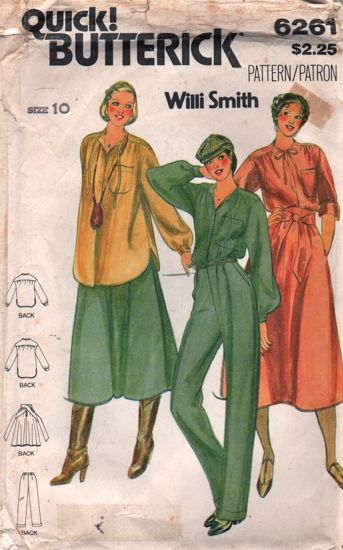 Butterick 6261 Willi Smith Skirt, Blouse Pants 1