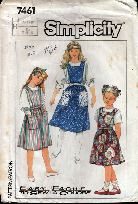 Vintage sewing pattern 1980s girls jumper Penelope Rose at Artfire