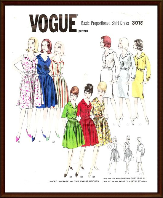 VOGUE Pattern 3018 Vintage 1950s Dress UNCUT front sample