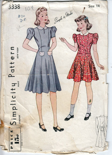 Vintage 1940 girls dress pattern from Penelope Rose at Artfire