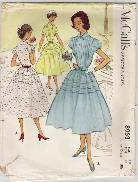 Mcalls-8953-vintage-pattern-full-skirt-dress-1952