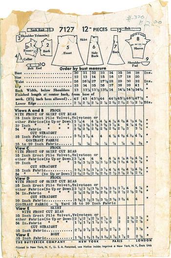 Butterick 7127 Kuvertbaksida
