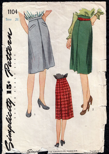 Vintage 1940s skirt pattern from Penelope Rose at Artfire