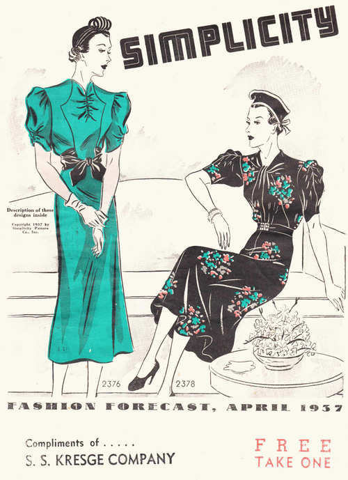 Simplicity Fashion Forecast From April, 1937