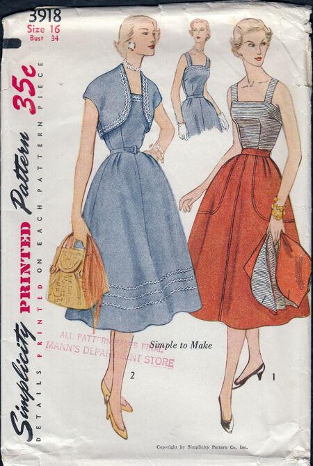 Vintage 1940 skirt, top, jacket pattern from Penelope Rose at Artfire