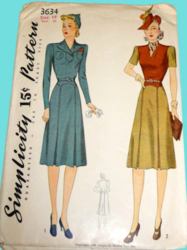 Simplicity 3634 1940s dress pattern image