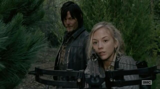 File:Beth and Daryl seeing a walker Beth about to attack.JPG
