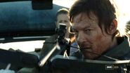 Daryl about to shoot the walker on the highway