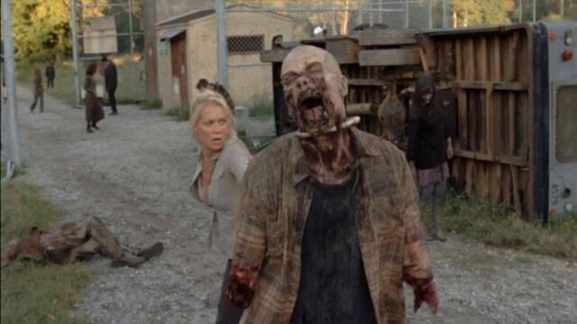 File:The Walking Dead - 3.11 - I Ain't a Judas. I'm in the background behind Andrea, wearing jeans with a faded shirt and sweater, with my hair down and wavy.jpg