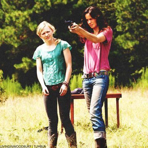 File:Beth and Lori target practice at farm.JPG