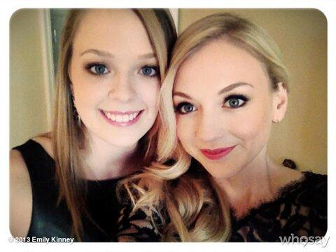 File:Emily Kinney with her Little Sister getting ready for the LA party.JPG