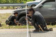 Rick Grimes and Sasha Williams 7x09 Working Together