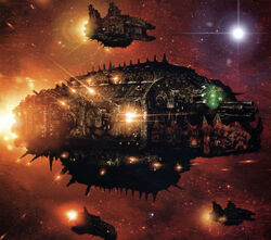Ork Terror Ship with Fleet