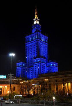 Nowa iluminacja Pałac Kultury i Nauki.JPG