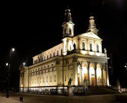 Kościół św. Karola Boromeusza nocą.JPG