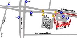 Schemat rozmieszczenia przystanków w zespole Osiedle Górczewska