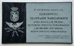 Tablica Elektrownia Tramwajów Warszawskich Muzeum Powstania Warszawskiego.JPG