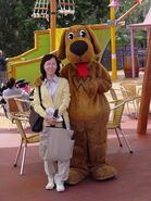 02 With a Wiggles World character 'Wags the Dog' in Dreamworld Theme Park