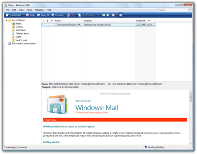Windows Mail Vista