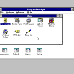 Windows 3.11 for Workgroups Program Manager.