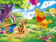 Pooh Wallpaper - Pooh Riding Balloon