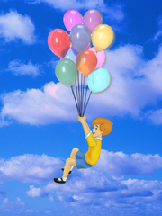 Christopher Robin flying