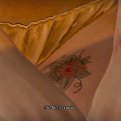 Ciri's rose tattoo in The Witcher 3.