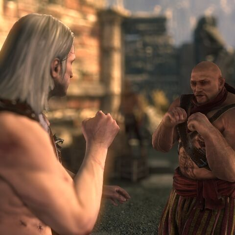 Geralt fistfighting The Mighty Numa