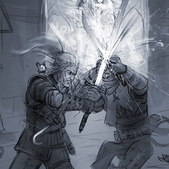 Third concept art fighting Geralt