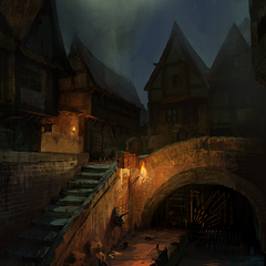 Temple Quarter at night concept painting