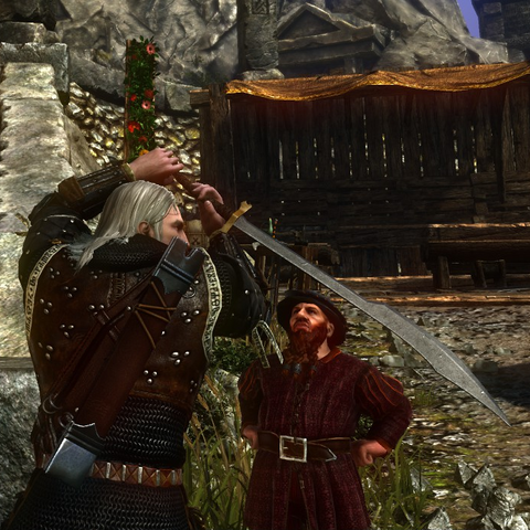 Skalen watches Geralt strike a dramatic pose with the Princess Xenthia sword