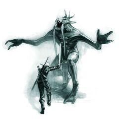 Geralt striking at Dagon.