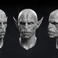 Digital model of vampiric face.