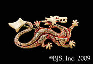 Gold-and-red Dragon pin